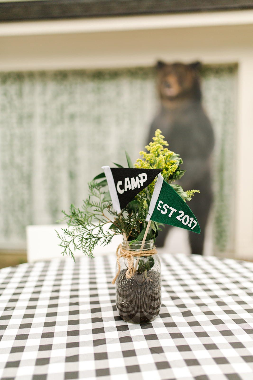 Camp Themed Birthday Party Centerpiece