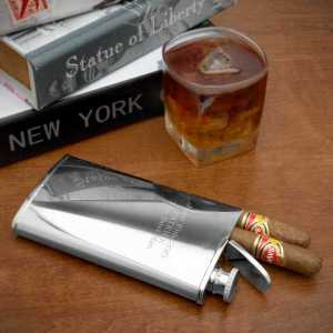 Cigar & Flask Engravable