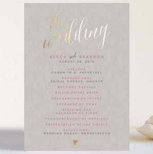 Gold Foil Wedding Program