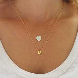 Opal Heart + Initial Necklace